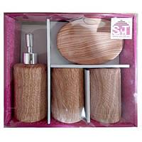 Набор аксессуаров для ванной комнаты 4 пр Ольха Snt 888-06-028