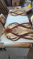 """Розкладний стіл обідній кухонний комплект стіл і стільці 3D малюнок 3д """"Золота хвиля"""" ДСП скло 70*110 Mobilgen 2002-1234, фото 1"""