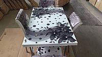 """Розкладний стіл обідній кухонний комплект стіл і стільці 3D малюнок 3д """"Чорні квіти"""" ДСП скло 70*110 Mobilgen 2003"""
