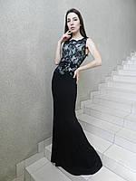Вечернее длинное нарядное платье рыбка черно-белое с кружевом на свадьбу на выпускной, коктейльное, без рукава