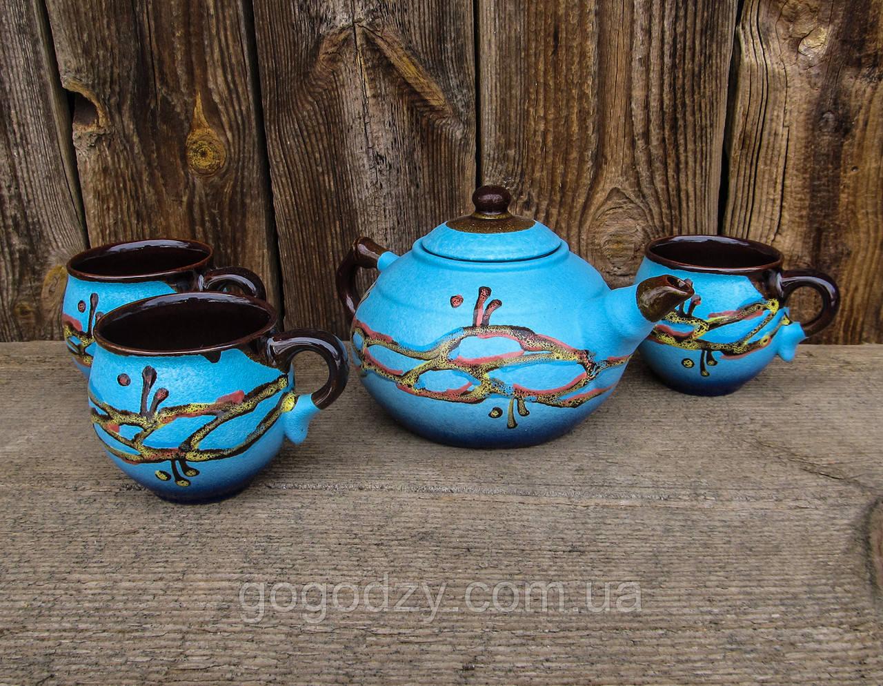 Чайний набір на 3 особи 0,6 л. Кулька декор Крайка блакитний