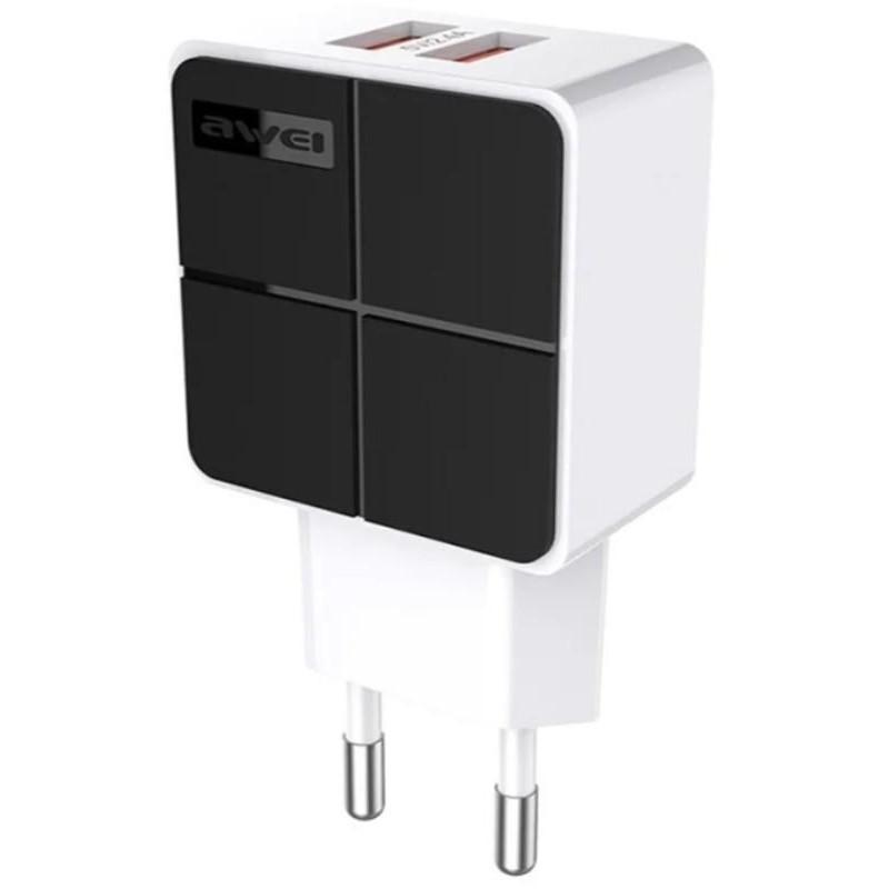 Зарядний пристрій AWEI C-500 Travel charger 2USB 2.4A Black
