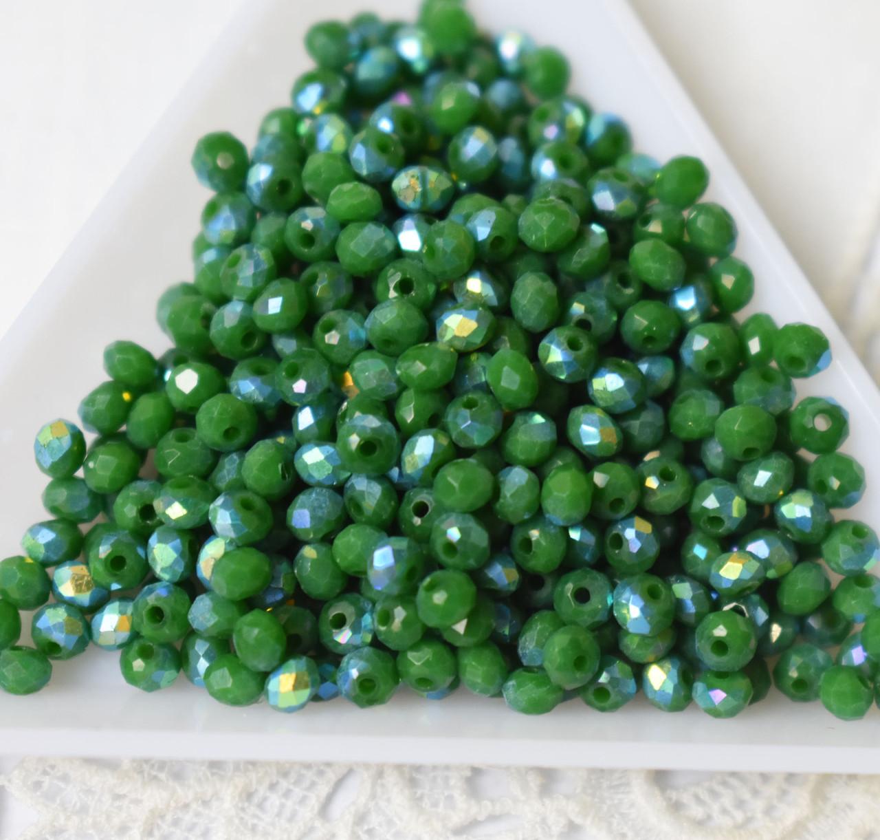 Рондели 2*3мм, 50 шт, хрусталь, зеленый