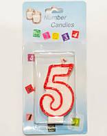 Свеча цифра 5 в торт