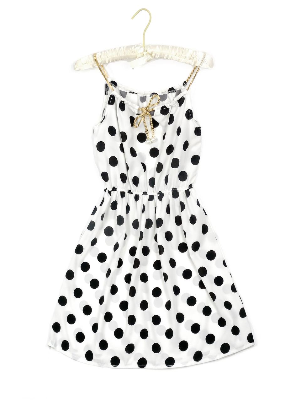 Белое летнее платье в крупный горох (44)