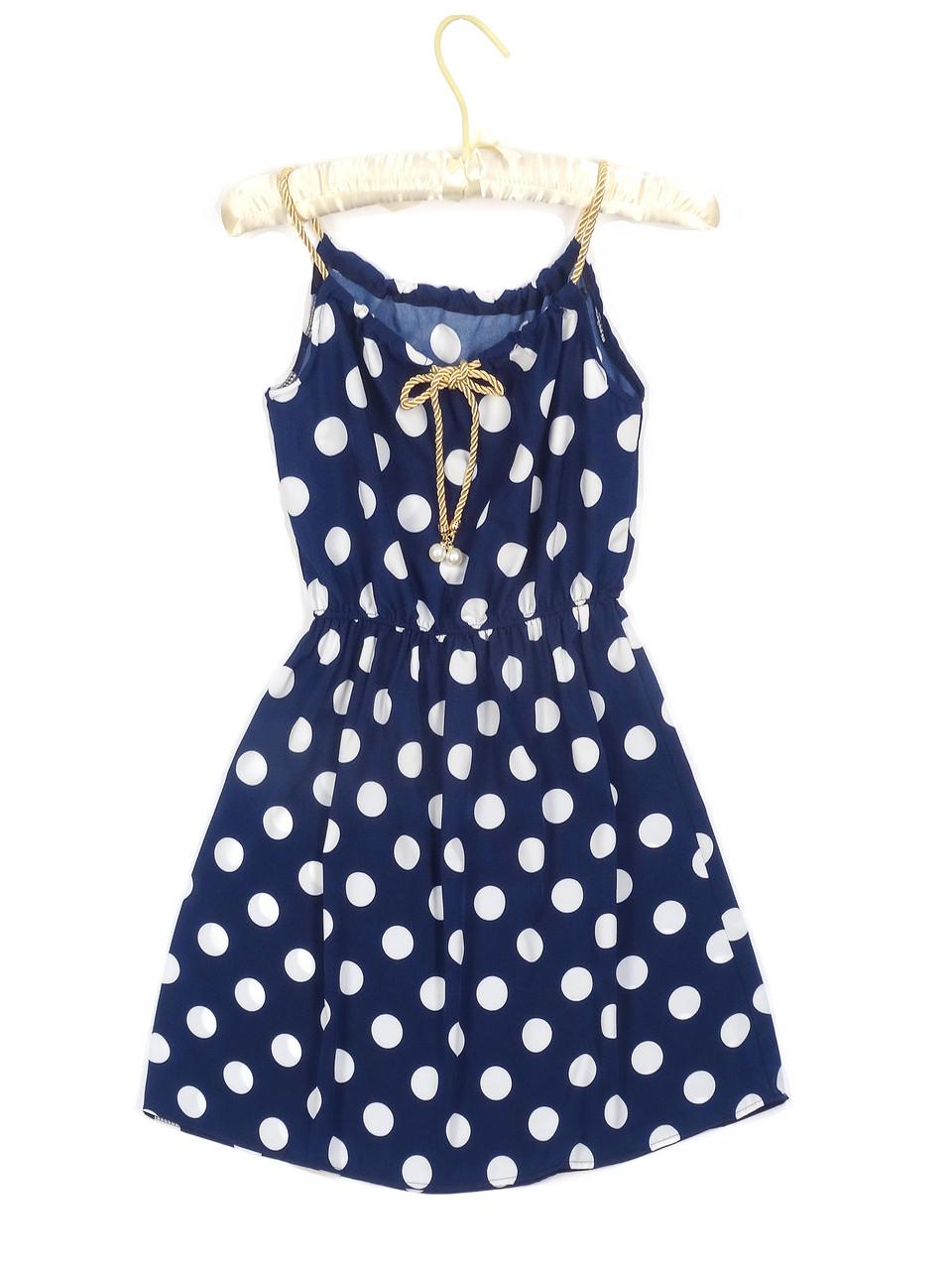 Женственное платье-сарафан в горошек (44)