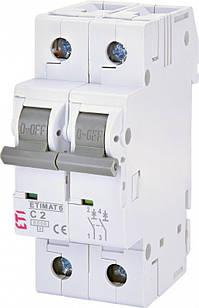 Автоматический выключатель ETIMAT 6 2p C 2A