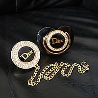 Пустышка, соска со стразами Dior и держатель, комплект, фото 1