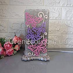 Соляной светильник Бабочки 2 цветной