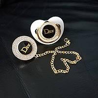 Пустышка, соска со стразами Dior и держатель, комплект