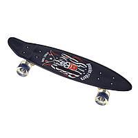 Скейт Пенні борд Best Board SL-AS(108), колеса PU світяться, дека з ручкою Череп