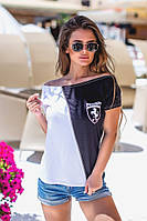 Женская классическая футболка комбинированная, круглый вырез горловины,из турецкой вискозы в полосочку (42-46), фото 1