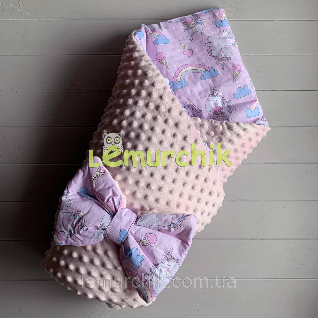 Конверт-ковдру минки на знімному синтепоні світло-рожевий Єдинороги