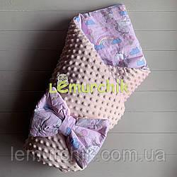Конверт-одеяло минки на съемном синтепоне светло-розовый Единороги
