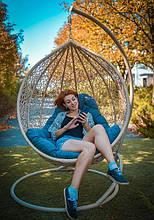 Підвісне садове крісло гойдалка кокон крапля куля плетене з ротанга Українські Конструкції Емілія / Emilia