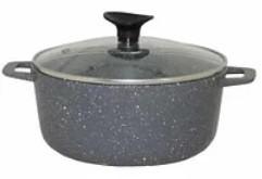 AD3206 Казан 6л з антиприг.покр+кришка скло (темно-сірий граніт)