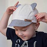 Кепка с ушками для мальчика ткань лён размеры от 9 мес. до 3 лет, фото 3
