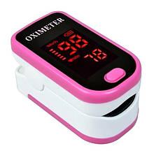 Пульсовой оксиметр Sunroz на палец для измерения насыщения крови кислородом Бело-розовый