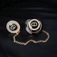 Пустышка, соска со стразами Gucci и держатель, комплект, фото 1