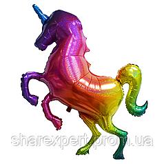 Шар (53''/135 см) Фигура, Сверкающий единорог, Радужный, Голография, 1 шт.