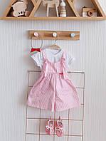 """Стильный летний костюм  для девочки """"Emily"""" 62,68,74,80,86 рр (кюлоты + футболка+повязка) бело-розовый"""