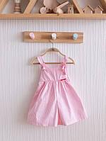 """Стильные летние кюлоты """"Emily"""" для девочки. Размеры 62,68,74,80,86 (бело-розовые), фото 1"""