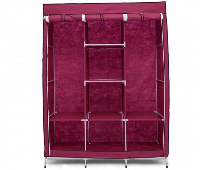 Шкаф тканевый HCX на 3 секции «88130 bordo» 130х45х175 см Бордовый