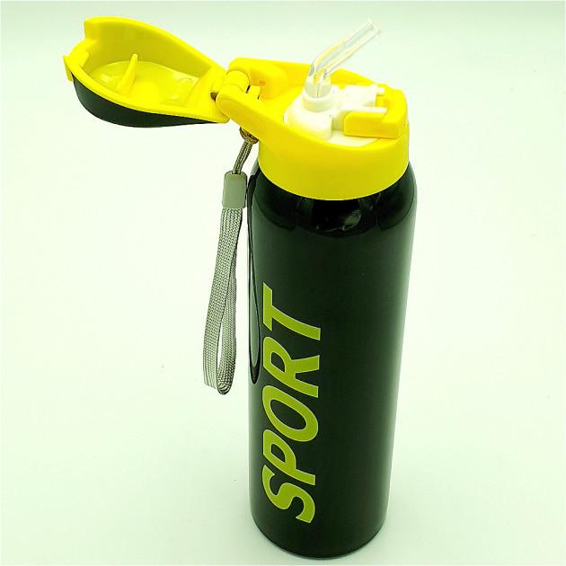 Бутылка термос для воды напитков с трубочкой поилкой спортивная стальная 350 мл SPORT черная
