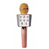 Беспроводной караоке-микрофон WS 1688 bluetooth Розовый