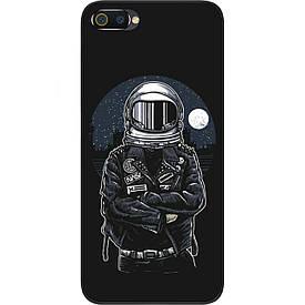 Чехол силиконовый с картинкой для Realme C2 Космонавт и луна