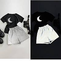 Костюм женский футболка из трикотажа с принтом и шорты из актуальной светоотражающей плащевкиDb2240