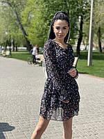 Шифоновое платье с длинным рукавом, фото 1