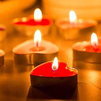 Свеча-таблетка Сердце плавающая, чайная Красная 50 шт