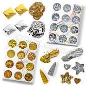 """Slime box """"Золото-Серебро"""" набор добавок для слайма: шармики, поталь, блестки, баночки"""