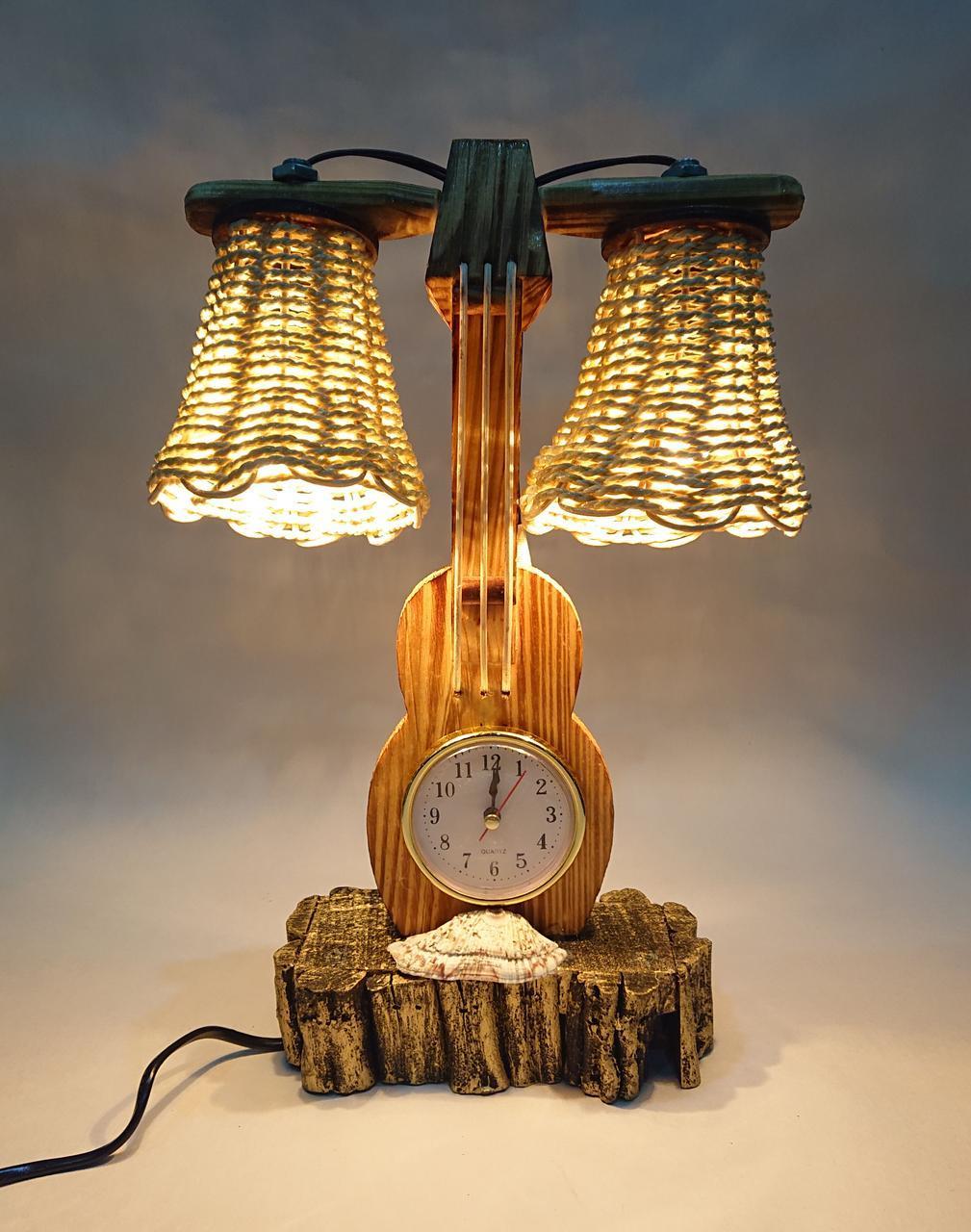 """Декоративная лампа-ночник """"Скрипка с часами"""""""