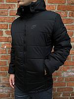 Куртка ветровка утепленная мужская осенняя весенняя черная Найк