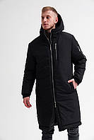 Парка куртка мужская зимняя теплая длинная черная