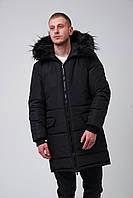 Парка куртка мужская зимняя теплая длинная черная Allblack
