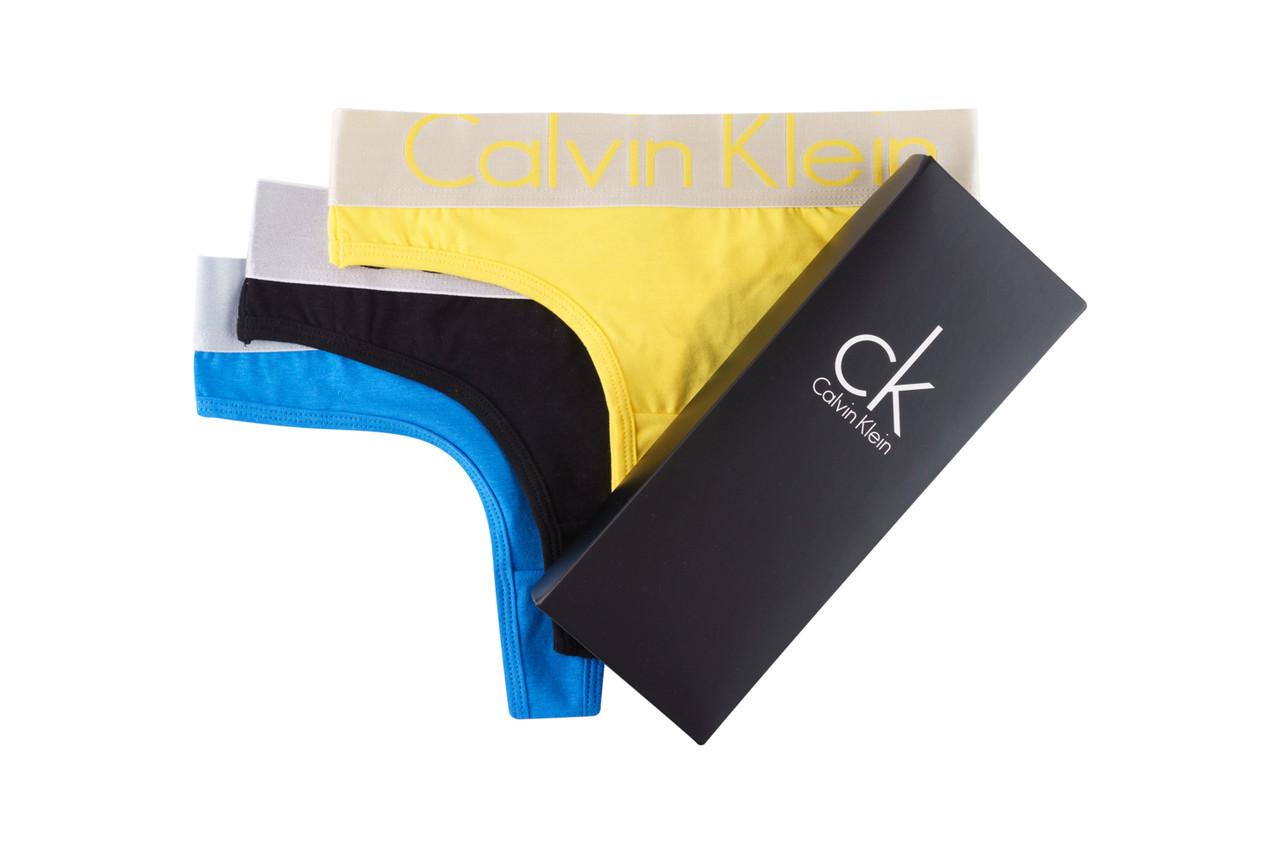 Комплект женских стрингов Кельвин Кляйн с серебристой резинкой (3 шт)
