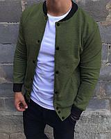 Бомбер куртка мужская весенняя осенняя текстильная оливковая без логотипа