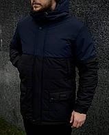 Куртка мужская демисезонная осенняя весенняя утепленная черно-синяя Intruder WaterProof