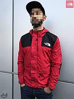 Ветровка куртка мужская весенняя осенняя качественная красно-черная The North Face