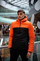 Куртка мужская демисезонная осенняя весенняя утепленная черно-оранжевая Intruder TEMP