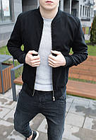 Бомбер куртка мужская весенняя осенняя кашемироваячерная без логотипа