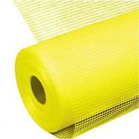 Сетка фасадная штукатурная желтая 160гр/м яч.5*5мм (1х50м) строительная стеклотканевая армировочная