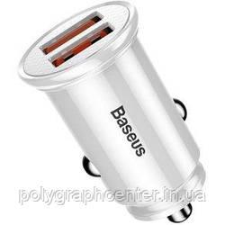 Автомобильное зарядное устройство Baseus USB Car Charger 2xUSB Mini Quick Charge 3.0