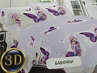 """Комплект постельного белья с принтом в светлых тонах  """" Бабочки 3Д"""" .100% хлопок."""