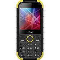 Кнопочный телефон водонепроницаемый с хорошей батареей и камерой на 2 симки Nomi i285 X-Treme Black-Yellow