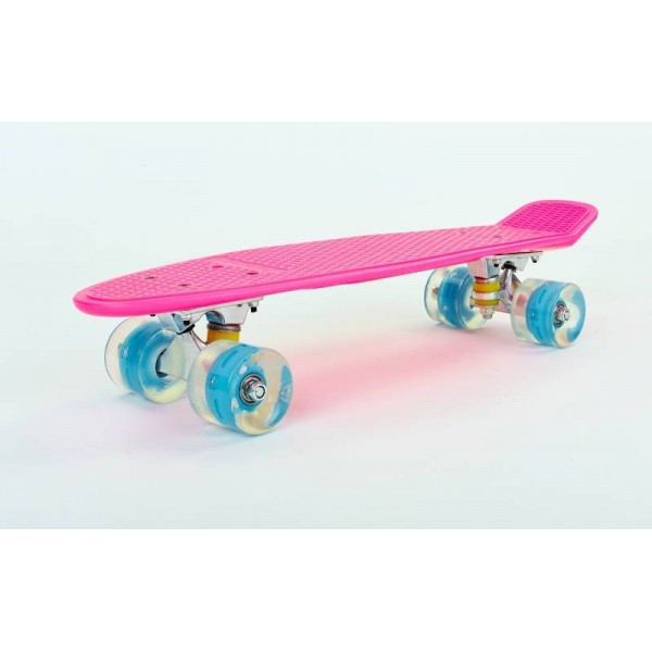 Пенни борд SKATEBOARD led wheels, розовый со светящимися кол.