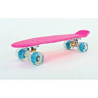 Пенни борд SKATEBOARD led wheels, розовый со светящимися кол., фото 1